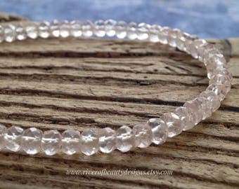 Microfaceted Rose Quartz Bracelet with Sterling Silver Toggle Clasp