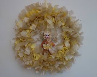 Wall Hanging / Fairy decoration / rag wreath