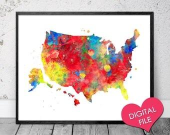 United States Map Watercolor Printable Art Digital Download Usa Printable Map Usa