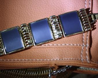 Lovely Vintage Smokey Blue Gray Modernist Thermoset Bracelet