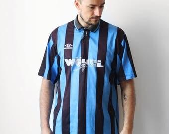 Vintage UMBRO striped tshirt / Football Soccer Jersey / Wohrl Sport oldschool t-shirt tee shirt / 90s L XL