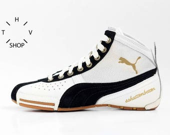 NOS Puma Schattenboxen Mid boots / OG Deadstock Trainers Sneakers Hi Tops / White Black vintage kicks / Boxing Wrestling Combats MMA shoes