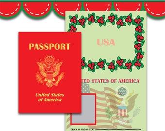 Christmas Passport Invitation I DOC JPG PDF Instant Download Printable Digital File