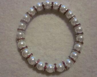 White & Fuchsia Stretch Bracelet