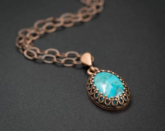 Turquoise pendant necklace,  natural turquoise pendant and copper handmade semiprecious stone necklace turquoise copper necklace