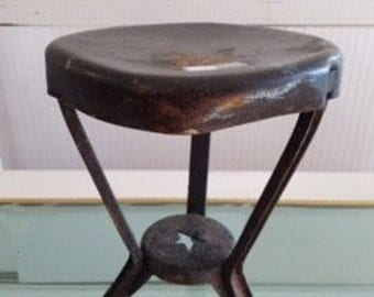 Antique Rustic Metal Stool