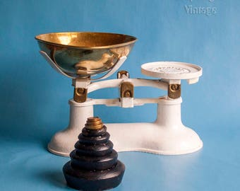 Vintage White Cast Iron BOOTS Nottingham Kitchen Scales and Cast Iron and Brass Imperial Weights
