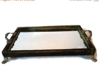 On Sale French Victorian Green Velvet Mirrored Perfume Vanity Tray