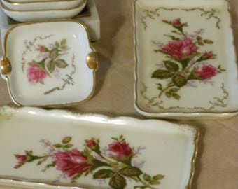 Six Pieces of Royal Sealy Moss Rose Pattern Ash Trays and Trinket Trays