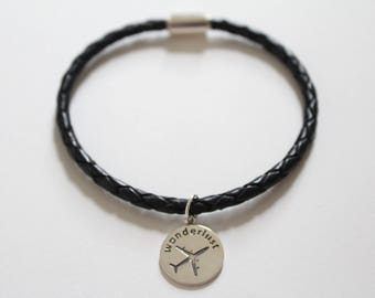Leather Bracelet with Sterling Silver Wanderlust Charm, Wanderlust Charm Bracelet, Wanderlust Bracelet, Travel Bracelet, Bracelet for Travel