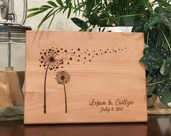 Personalized Cutting Board Dandelion Heart Wedding Present Bridal Shower Gift Valentine Gift Kitchen Art Mom Birthday