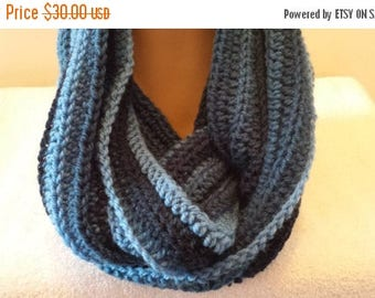 ON SALE Infinity Cowl Scarf, Unisex Neckwarmer Scarf,  Crocheted Shades of Blue Handmade