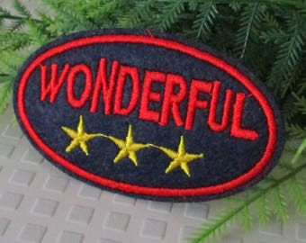 Patch embroidery Applique denim wonderful text patch stars text thermocollante writings