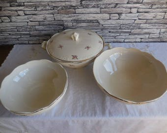 Vintage  Boch Belgian china set of 2 serving dishes and one serving dish with lid
