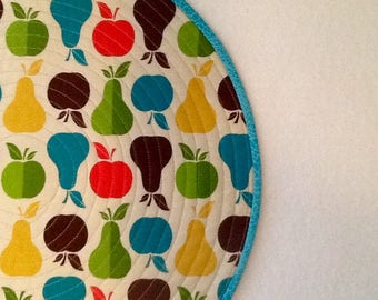 Fruit, ( Apples 'n Pears ) quilted round placemats.   Happy placemats.  Colorful round placemats