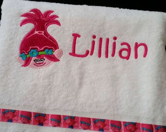 Personalized Appliqued Embroidered Troll Poppy Bath Towel, Character towel, Birthday Gift, Towel with name