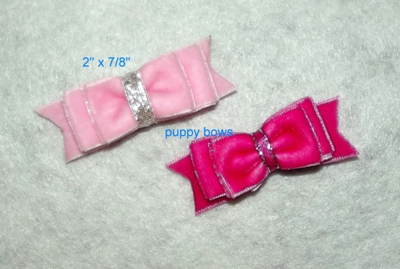 Puppy Bows ~  Hot pink or Baby pink velvet double loop show bow latex bands or barrette   (fb76)