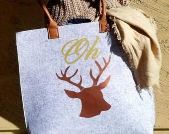 Oh Deer Felt Tote Bag