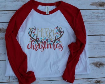 Merry Christmas Shirt; Christmas Shirt; Antlers with Lights Shirt; Antler Christmas Shirt