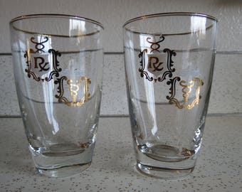Vintage Pair of Pharmacy Tumbler Glasses, RX, Caduceus, Medical