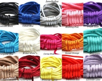 4-20 Metres Rattail Silky Cord ~ Black,White, Red, Green, Blue, Orange, Yellow,Purple,Silver+More ~ Ideal For Kumihimo, Macrame  & Shamballa