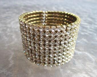 Wide clear rhinestone cuff bracelet - estate bling jewelry