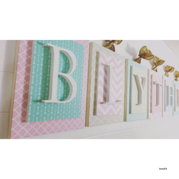 Baby letters for wall nursery name sign wooden sign for for Babies r us wall letters