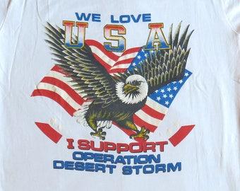 90's Vintage T Shirt Military Desert Storm Eagle Flag