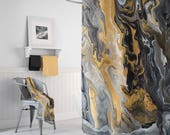 Black and Gold Marble Shower Curtain - Gold Vein,  paint pouring,  art deco style, modern marble, unisex unique, home decor bathroom