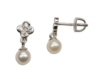Sterling Silver Daisy Earring with White Dangling Pearl Gift for Flower Girl with Screw Backs (SSE-Daisy w/dangling Pearl)