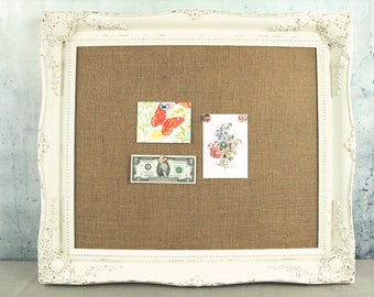 White framed bulletin board - shabby chic decor - with burlap - magnetic board