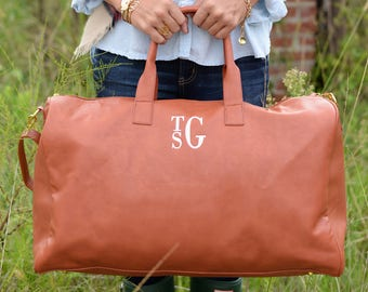 Monogrammed Duffle Bag | Faux Leather | Duffle Bag | Monogrammed Gift