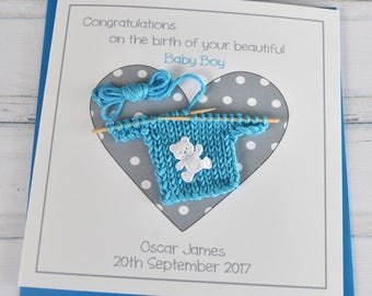 Handmade Personalised Customised New Baby Boy Congratulations Card
