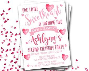 Valentines Birthday Invitation, Watercolor Hearts Birthday Invitation, Sweetheart Birthday, Valentine Birthday, DIY Printable