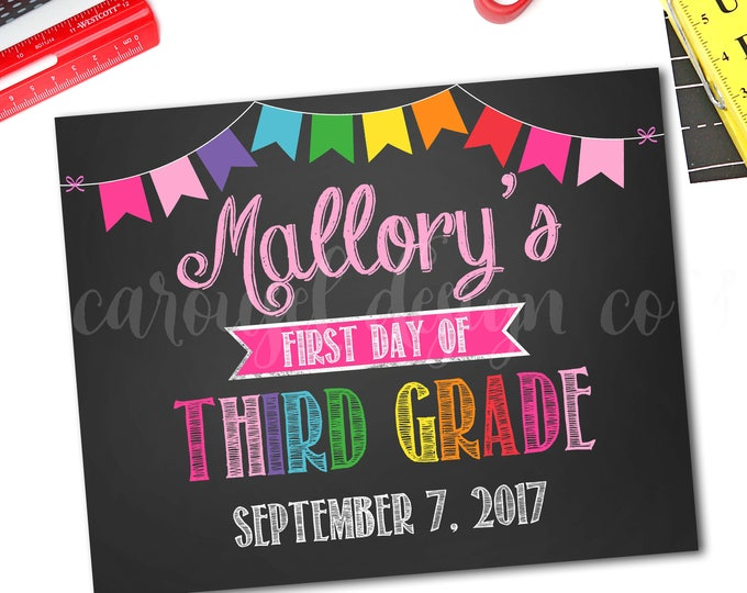First Day Of School Sign, Back To School Sign, School Photo Prop, Chalkboard Sign, 1st Day Of School Sign, Any Grade, DIY Printable