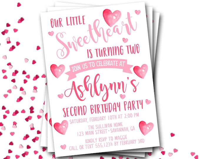 Valentines Birthday Invitation, Watercolor Hearts Birthday Invitation, Sweetheart Birthday, Valentine Birthday, DIY Printable