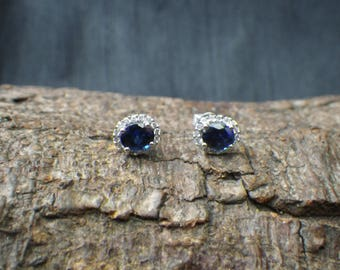 Sparkling 9ct White Gold Diamond and Sapphire Stud Earrings