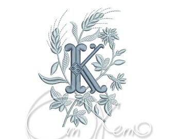 MACHINE EMBROIDERY DESIGN - Monogram letter K