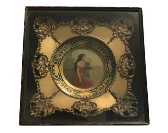 "Vienna Art ""Ariadne"" Tin Plate by Meek Co in Original Plate Frame Display Case c.1910"