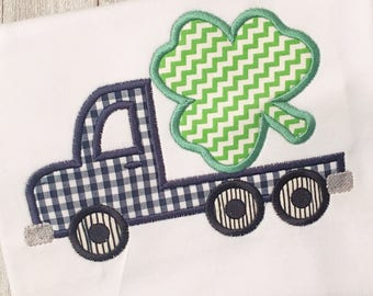 Boys St. Patrick's Day Shirt | Flatbed Truck | Four Leaf Clover | Appliqué