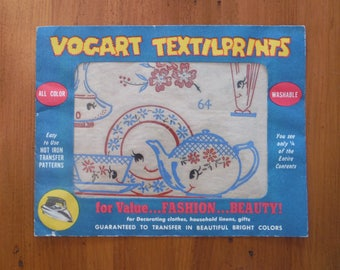 Vintage 1950's Vogart Textilprints - Hot Iron On Fabric Transfer Pattern - Vogart Textil Prints Dishes #64 - Anthropomorphic Transfers