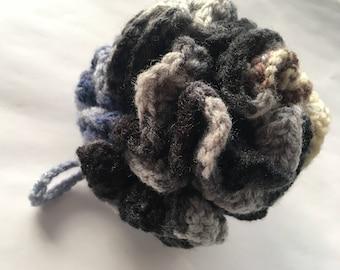 Loofah Handmade crochet   Blue Gray Black Tan and Brown 100% acrlyic   FREE Shipping