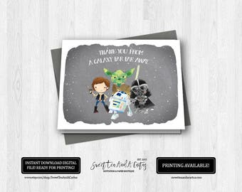 Star Wars Thank You Card Birthday Party Boys Printable Digital File Instant Download Han Solo Yoda Darth Vader R2-D2 Note Cards