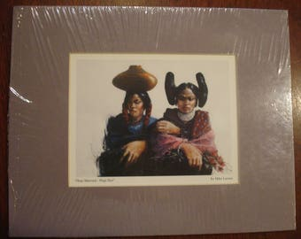 Hopi Married - Hopi Not by Oklahoma Artist Mike Larsen matted print 10 inch by 8 inch