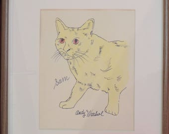 Signed Andy Warhol (1928-1987) Watercolor /ink painting