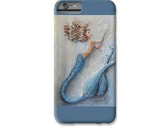 Mermaid cell phone case for iPhone  6 7 8 X Plus, Blue mermaid cell case, Mermaid art by Nancy Quiaoit