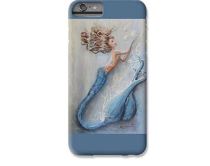 Mermaid cell phone case for iPhone  6 7 8 X Plus, Blue mermaid cell case, Mermaid art by Nancy Quiaoit