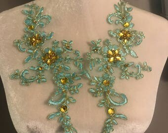 Jeweled lace appliqués