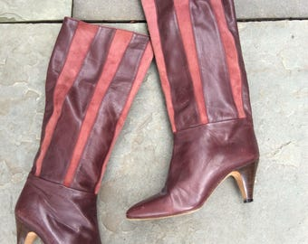 Vintage 70s 80s Burgundy Oxblood leather suede boots sz 35 5 paneling