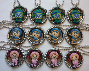 Lot of 12 Team Umizoomi Bottle Cap Character Ball Chain Necklaces